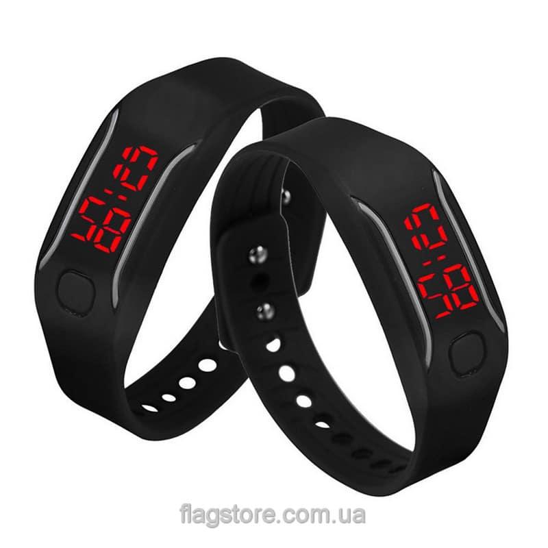 Часы-браслет с красным LED и вертикальными полосками (разные цвета) 05
