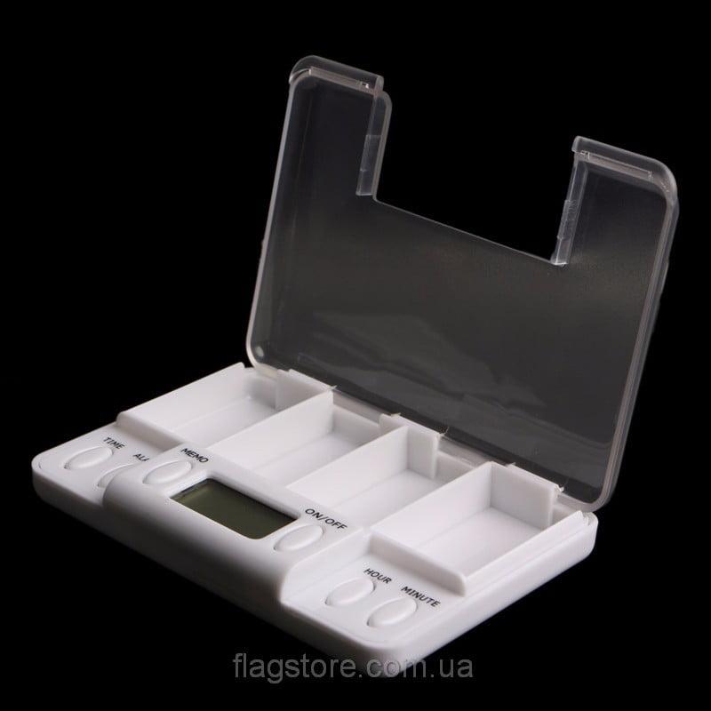 Электронный органайзер для таблеток с сигналом-напоминанием (4 отсека) 05