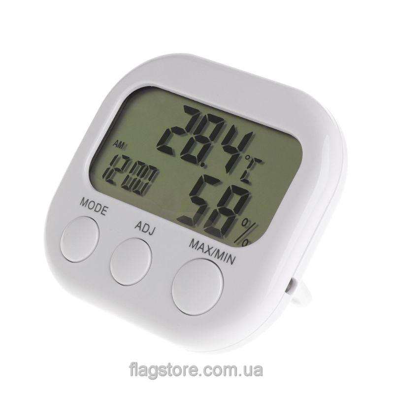 Термогигрометр с часами и будильником 5