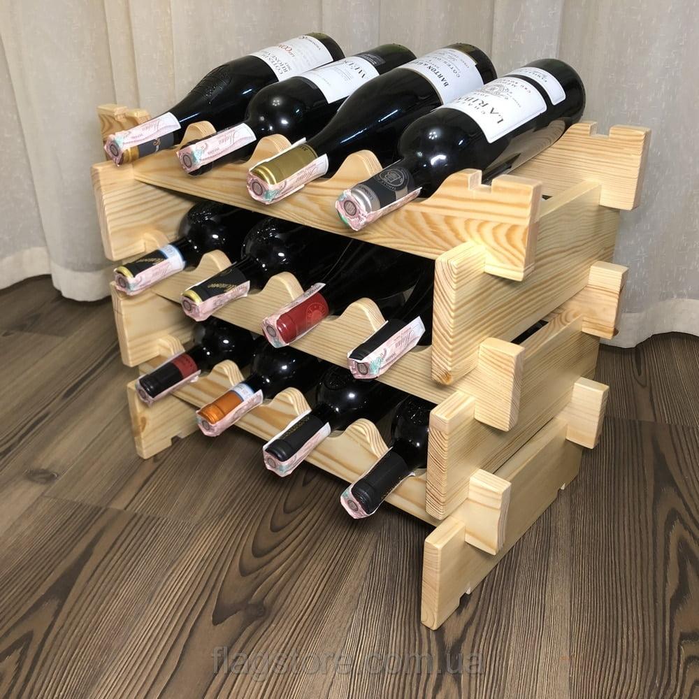 Деревянная подставка для вина на 12 бутылок 6