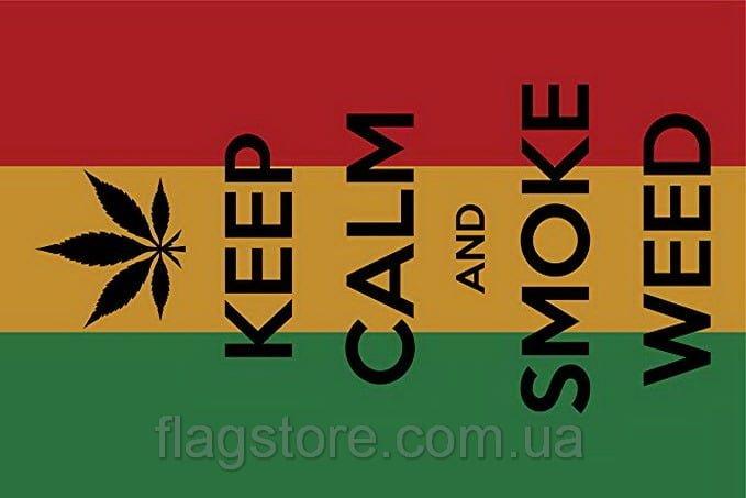 Купить флаг Раста Keep Calm and Smoke Weed