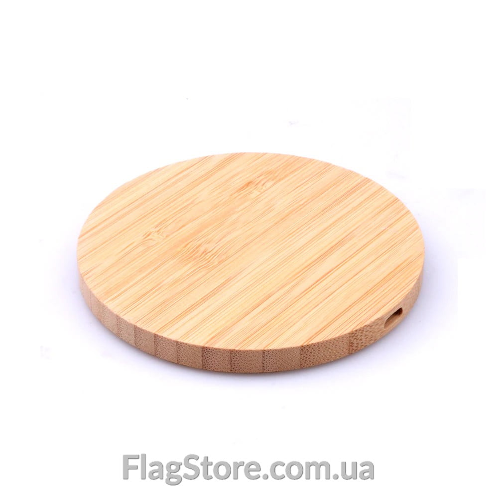 Круглая деревянная беспроводная зарядка 1