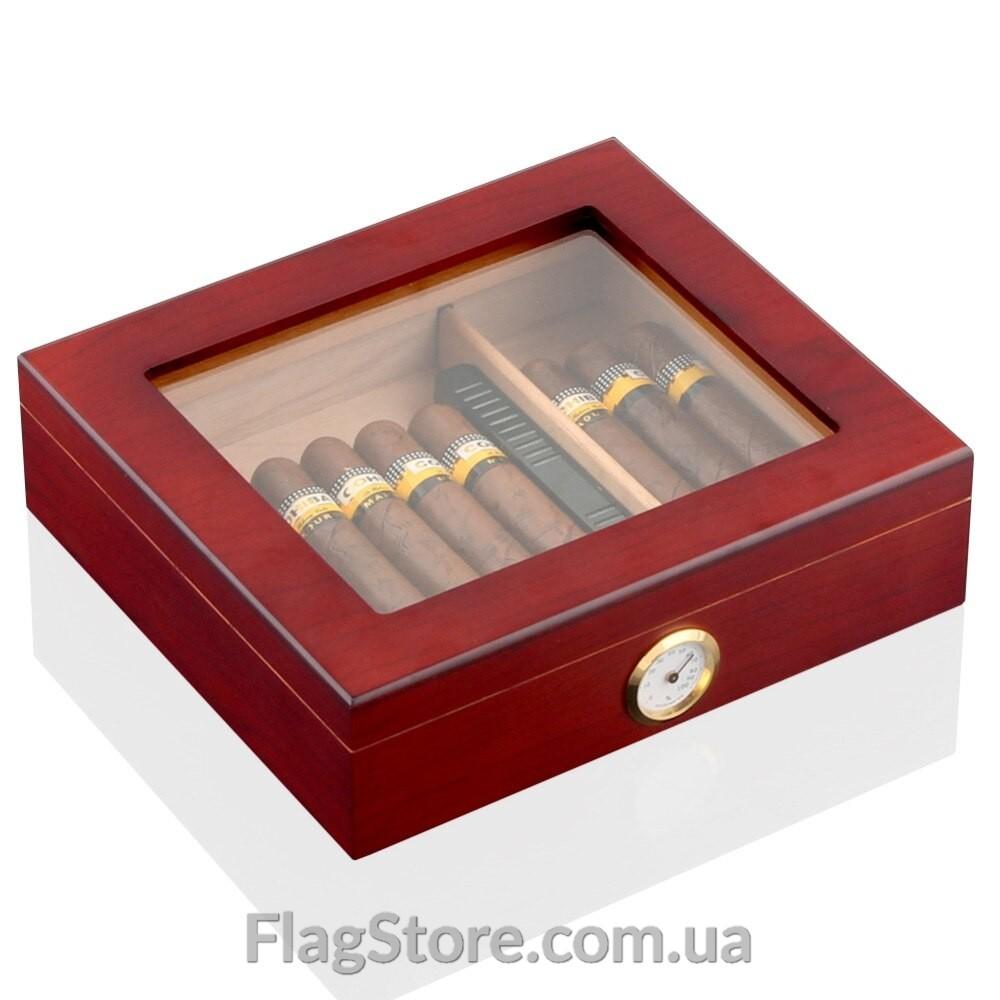 Кедровый сигарный хьюмидор со стеклянным верхом 10